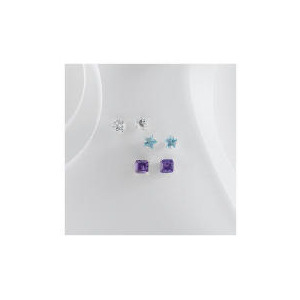 Photo of Sterling Silver CubicC Zirconia Set Of 3 Studs Jewellery Woman