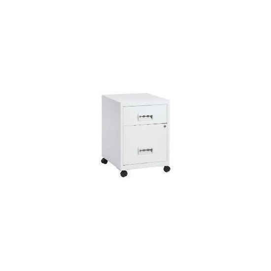 White Combi2 Drawer Filing Cabinet & Casters