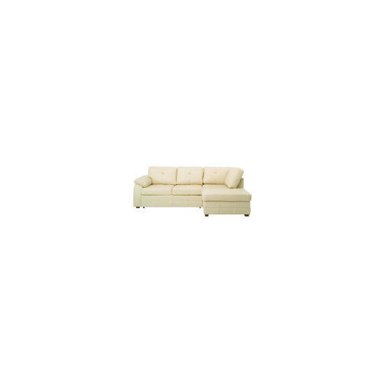 Modena right hand facing Leather Chaise Sofabed, Cream