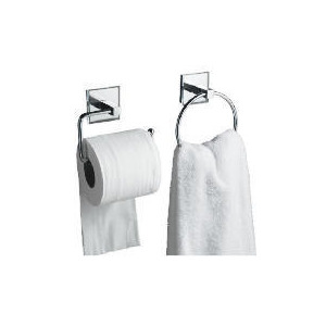 Photo of Lincoln Square Tube Towel Ring and Toilet Roll Holder Bathroom Fitting