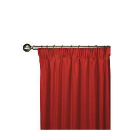 Tesco Plain Canvas Unlined Pencil Pleat Curtain 117x183cm, Red Reviews