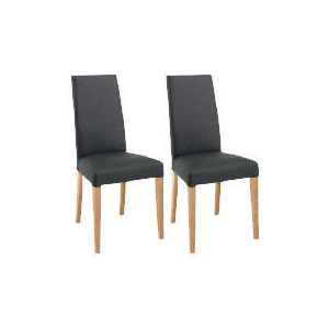 Photo of Pair Of Lucca Chairs, Black Leather With Oak Legs Furniture