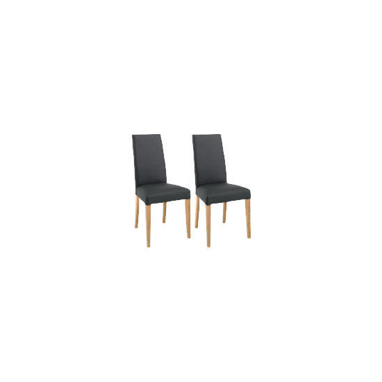 Pair of Lucca Chairs, Black Leather with oak legs