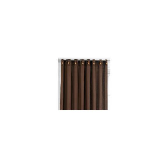Tesco Plain Canvas Unlined Belt Top Curtain 229x229cm, Chocolate
