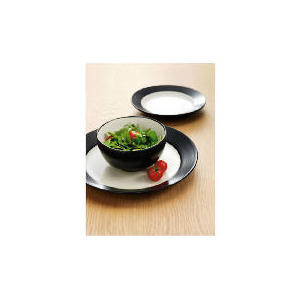 Photo of Tesco Two Tone Dinnerset 12 Piece, Black & Cream Dinnerware