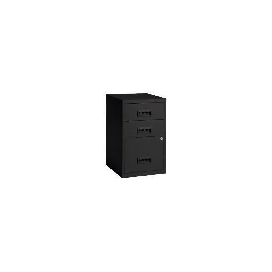 Black Combi 3 Drawer Filing Cabinet