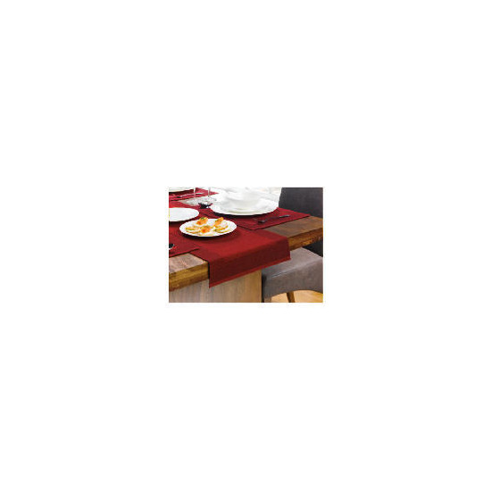 Tesco Ribbed Burgundy & Red, 6 pack of Placemat & 1 Runner