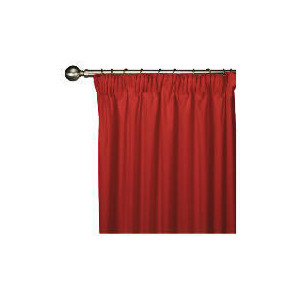 Photo of Tesco Plain Canvas Unlined Pencil Pleat Curtain 168X137CM, Red Curtain