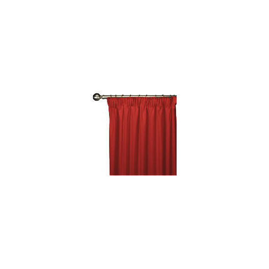 Tesco Plain Canvas Unlined Pencil Pleat Curtain 168x137cm, Red