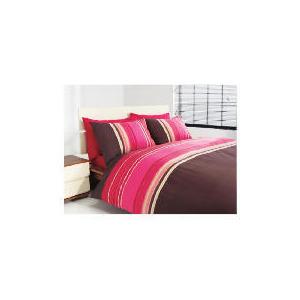 Photo of Tesco Twinpack Kieran Stripe Double, Chocolate Bed Linen