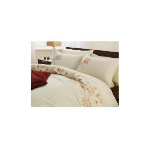 Photo of Tesco Marlborough Embroidered Duvet Set Double, Stone Bed Linen