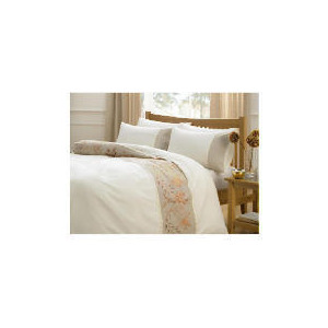 Photo of Tesco Dell Embroidered Duvet Set King, Stone/Red Bed Linen