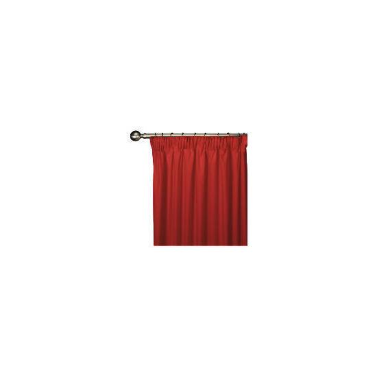 Tesco Plain Canvas Unlined Pencil Pleat Curtain 168x183cm, Red