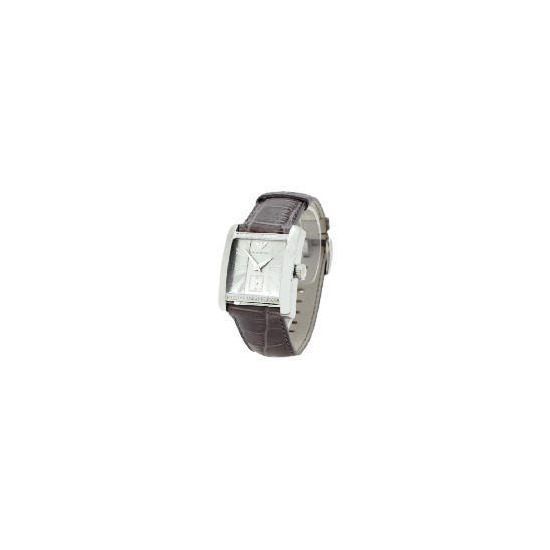Armani Mens Leather Strap Square Face Watch
