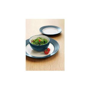 Photo of Tesco Two Tone Dinnerset 12 Piece, Teal & White Dinnerware
