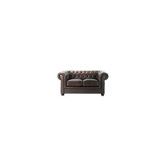 Chesterfield Leather Sofa, Antique Brown