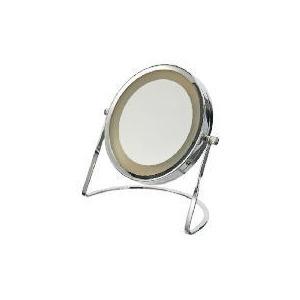 Photo of Tesco Chrome Round Pedestal Mirror With Light Home Miscellaneou