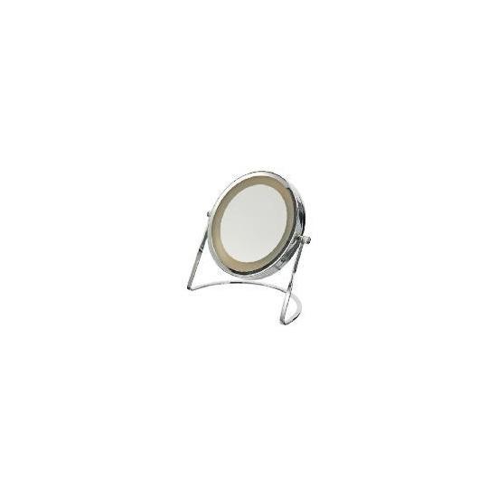 Tesco Chrome Round Pedestal Mirror With Light