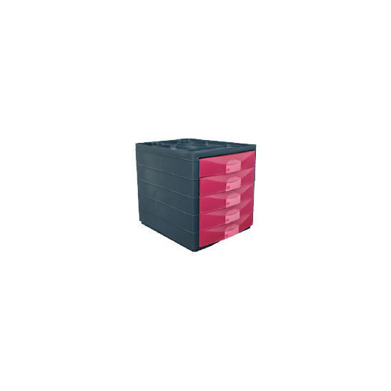 Multi 5 Drawer Desktop Closed Pink