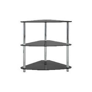 Photo of Mercury 3 Shelf Corner Bookcase, Black Glass Furniture