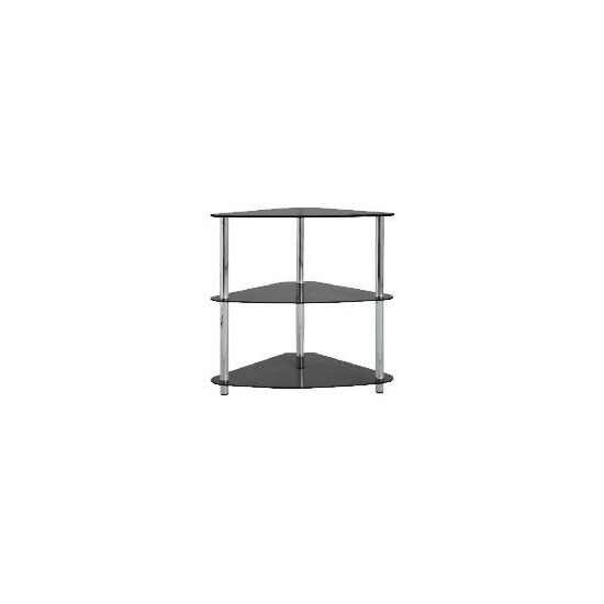 Mercury 3 shelf Corner Bookcase, Black Glass