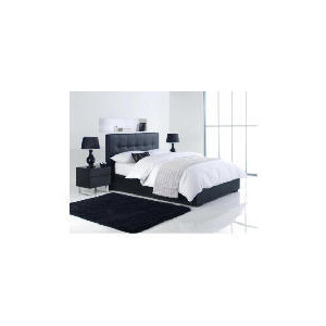 Photo of Orleans King Faux Leather Storage Bed, Black Bedding