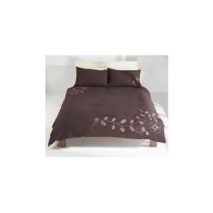 Photo of Tesco Retro Stitch Emb Duvet Set Double- Mocha Bed Linen