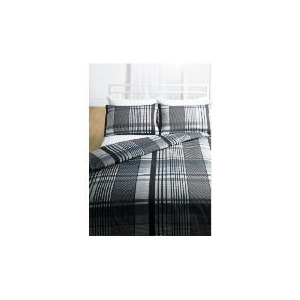 Photo of Tesco Check Print Duvet Set King, Grey Bed Linen