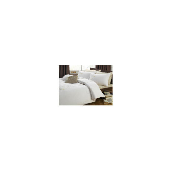 Tesco Fay Embroidered Duvet Set Double, Ivory
