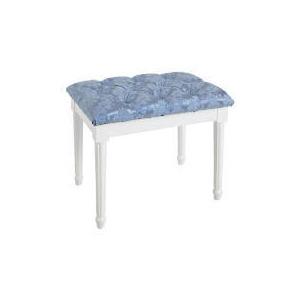 Photo of Blenheim Bedroom Stool, White Legs Blue Damask Furniture