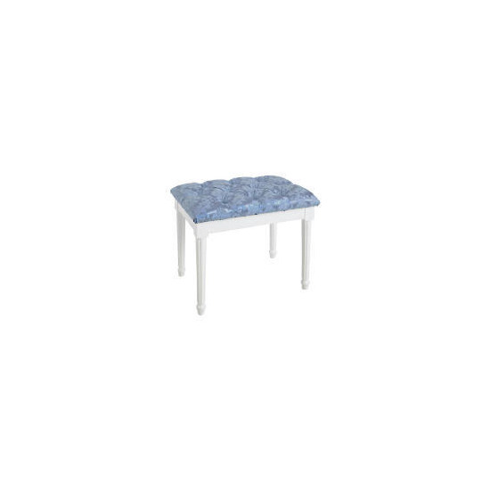 Blenheim Bedroom Stool, White Legs Blue Damask