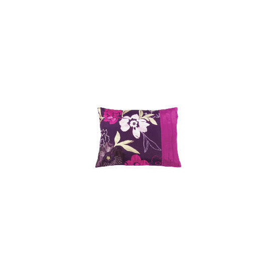 Tesco Stitched Floral Cushion, Plum