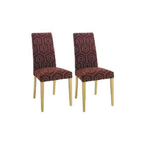 Photo of Pair Of Lucca Chairs, Claret Geometric With Oak Legs Furniture