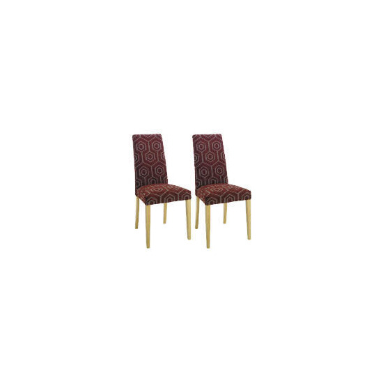 Pair of Lucca Chairs, Claret Geometric with Oak Legs