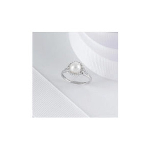Photo of 9CT WHITE GOLD PEARL and DIAMOND CLUSTER  RING, L Jewellery Woman