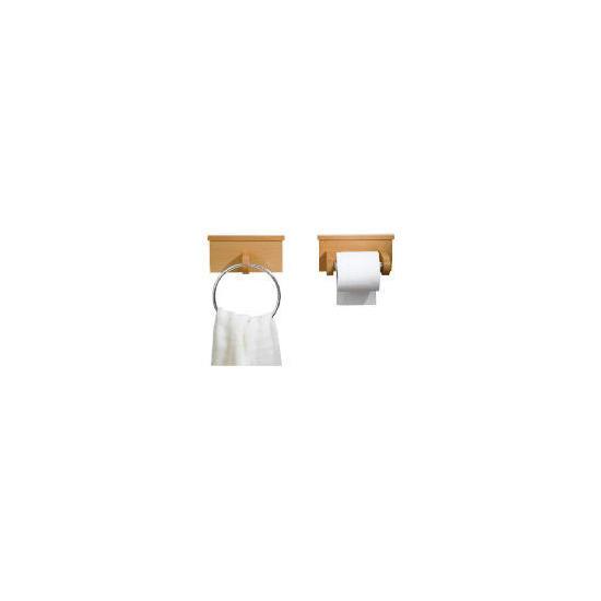 Harvard Beech Toilet Roll Holder And Towel Ring