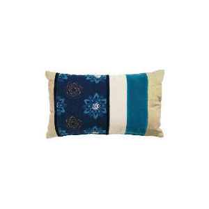 Photo of Tesco Embroidered Floral Cushion Teal Cushions and Throw