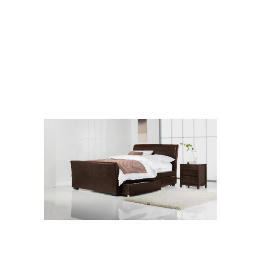 Toledo King Faux Leather Sleigh Bed With Drawers, Dark Brown Reviews