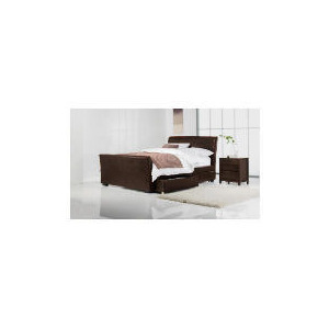 Photo of Toledo King Faux Leather Sleigh Bed With Drawers, Dark Brown Bedding