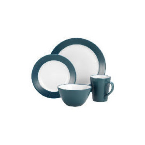 Photo of Tesco Two Tone Dinnerset 16 Piece, Teal & White Dinnerware