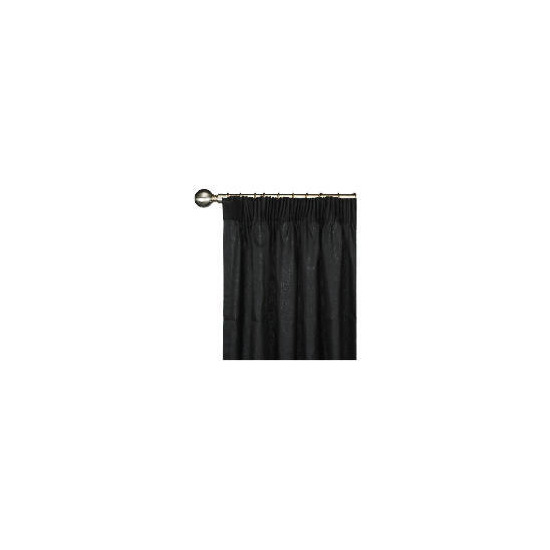 Tesco Plain Canvas Unlined Pencil Pleat Curtain 168x229cm, Black