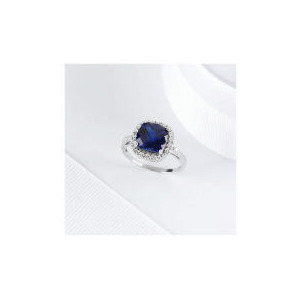 Photo of Sterling Silver Created Sapphire Cocktail Ring, Small Jewellery Woman
