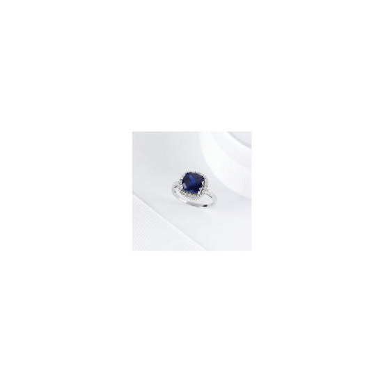 Sterling Silver Created Sapphire Cocktail Ring, Small