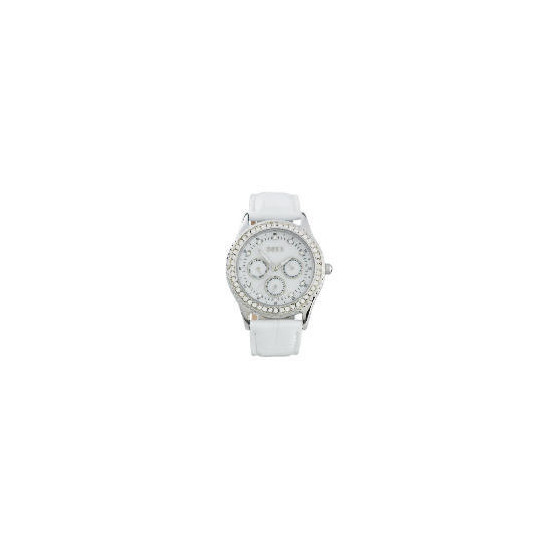 Oasis White Strap Diamonte Set Watch