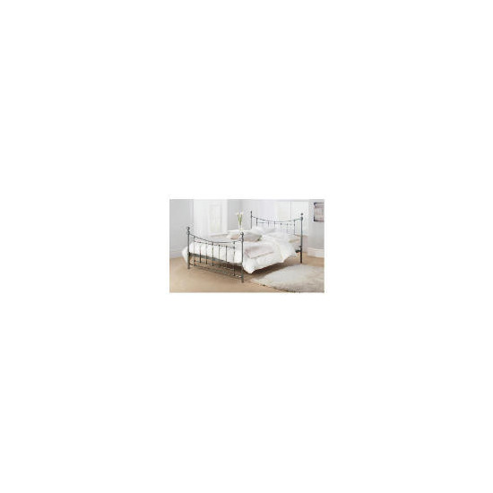 Bordeaux King Bed Frame, Antique Silver Finish