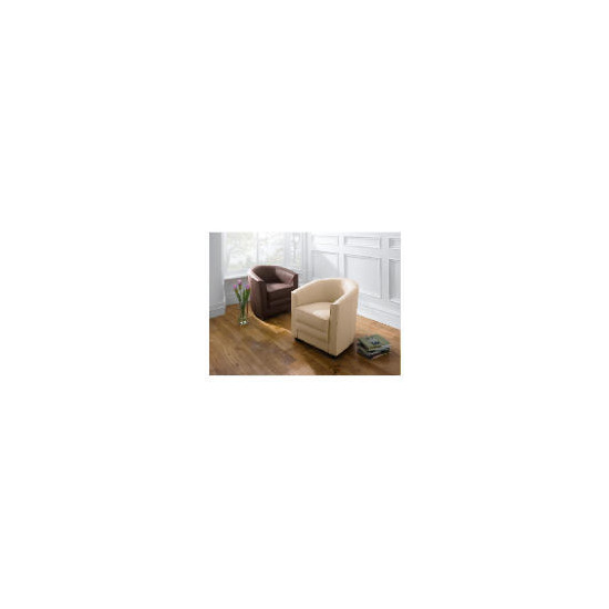 Miami Leather Tub Chair, Ivory