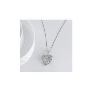 Photo of 9CT WHITE GOLD DIAMOND DOUBLE HEART PENDANT Jewellery Woman