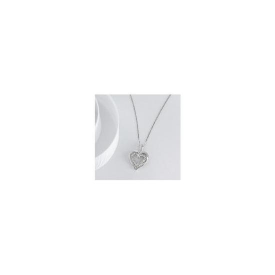 9CT WHITE GOLD DIAMOND DOUBLE HEART PENDANT