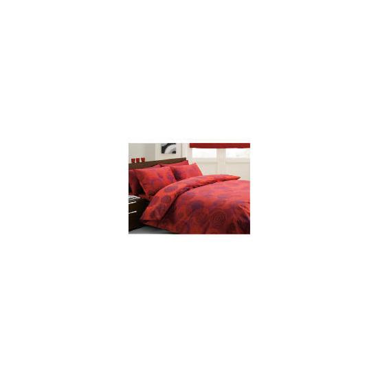 Tesco Swirls Print Duvet Set Double, Red