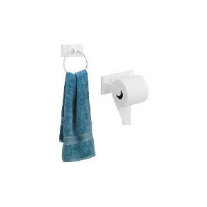 Photo of Croydex White Wood Wall Mounted Towel Ring and Toilet Roll Holder Bathroom Fitting